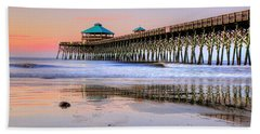 Pastel Sunrise On Folly Beach Pier In Charleston South Carolina Beach Towel