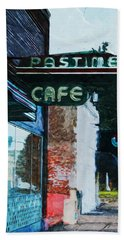 Pastime Cafe- Art By Linda Woods Beach Towel