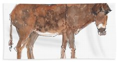 Pasture Boss 2015 Watercolor Painting By Kmcelwaine Beach Sheet
