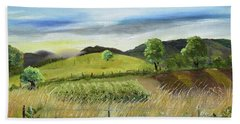 Beach Towel featuring the painting Pasture Love At Chateau Meichtry - Ellijay Ga by Jan Dappen