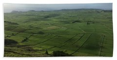 Pastures Inside The Rim On Terceira, Azores, Portugal Beach Towel