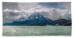Beach Towel featuring the photograph Patagonia Lake by Andrew Matwijec