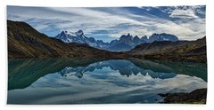Patagonia Lake Reflection - Chile Beach Towel