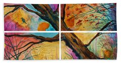 Patchwork Sky Tree Painting With Colorful Sky Beach Sheet