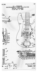 Patent Drawing For The 1959 Electromagnetic Pickup For Lute Type Musical Instrument By C. L. Fender Beach Towel