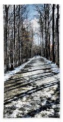 Path In Winter Beach Towel