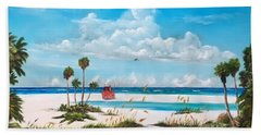 Path On Siesta Key To The Red Lifeguard Shack Beach Towel