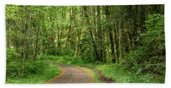 Beach Towel featuring the photograph Path Through The Woods by Jean Noren
