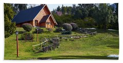 Rustic Church Surrounded By Trees In The Argentine Patagonia Beach Towel