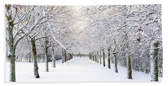 Pathway In Snow Beach Towel