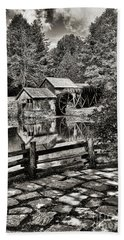 Beach Towel featuring the photograph Pathway To Marby Mill In Black And White by Paul Ward