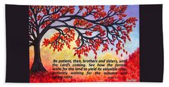 Beach Towel featuring the painting Patient Autumn Tree by Sonya Nancy Capling-Bacle