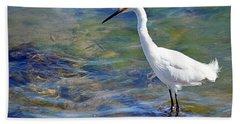 Patient Egret Beach Towel by AJ Schibig