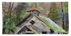 Beach Towel featuring the painting Patiently Waiting - Church Abandoned-signed by Jan Dappen