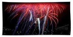 Patriotic Fireworks S F Bay Beach Towel