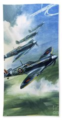 Patrolling Flight Of 416 Squadron, Royal Canadian Air Force, Spitfire Mark Nines Beach Towel by Wilf Hardy