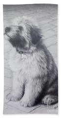 Patsy's Puppy Beach Towel by Mike Ivey