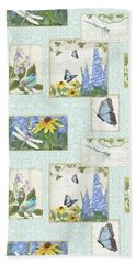 Pattern Butterflies Dragonflies Birds And Blue And Yellow Floral Beach Sheet by Audrey Jeanne Roberts