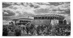 Paul Brown Stadium Black And White Beach Towel by Scott Meyer