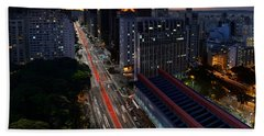 Paulista Avenue And Masp At Dusk - Sao Paulo - Brazil Beach Sheet