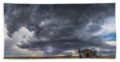 Beach Towel featuring the photograph Pawnee School Storm by Darren White