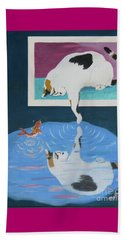 Beach Towel featuring the painting Paws And Effect by Phyllis Kaltenbach