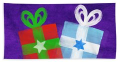 Peace And Joy- Hanukkah And Christmas Card By Linda Woods Beach Towel
