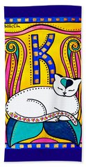 Beach Towel featuring the painting Peace And Love - Cat Art By Dora Hathazi Mendes by Dora Hathazi Mendes