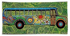 Peace And Love Hippie Bus Beach Sheet by Jim Harris