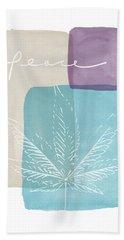 Peace Cannabis Leaf Watercolor- Art By Linda Woods Beach Towel by Linda Woods