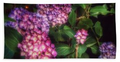Peace Garden - Purple Hydrangeas Beach Towel by Miriam Danar