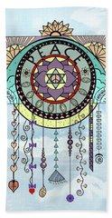 Peace Kite Dangle Illustration Art Beach Towel by Deborah Smith