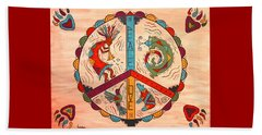Beach Sheet featuring the painting Peace Love And Harmony by Susie WEBER
