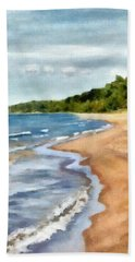 Beach Towel featuring the painting Peaceful Beach At Pier Cove Ll by Michelle Calkins