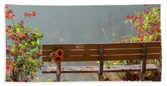 Beach Towel featuring the photograph Peaceful Bench by George Randy Bass