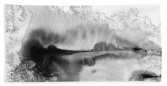 Peaceful Evening - Abstract Ink Rural Landscape Art Beach Towel