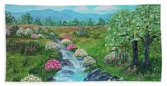 Beach Towel featuring the painting Peaceful Meadow by Sonya Nancy Capling-Bacle