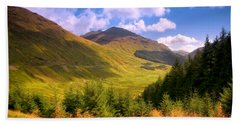 Peaceful Sunny Day In Mountains. Rest And Be Thankful. Scotland Beach Towel