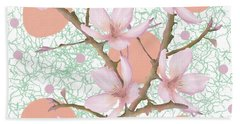 Peach Blossom Pattern Beach Towel