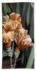 Peach Iris Beach Towel