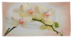 Peach Orchid Spray Beach Towel