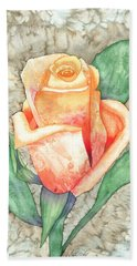 Peach Rose Beach Towel by Kristen Fox