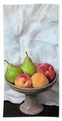 Peaches And Pears In Pedestal Bowl Beach Towel
