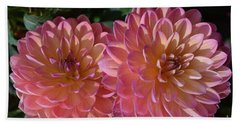 Peachy Dahlias Beach Towel