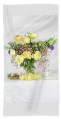 Peachy Yellow Roses And Lisianthus Bouquet Beach Towel