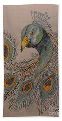 Peacock #1 - Drawing Beach Sheet by Maria Urso