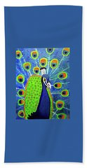 Beach Towel featuring the painting Peacock #3 by Margaret Harmon