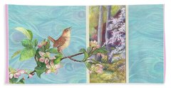 Peacock And Cherry Blossom With Wren Beach Towel