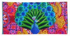 Peacock And Pattern Beach Towel