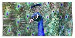 Peacock Bloom Beach Towel by Steve McKinzie